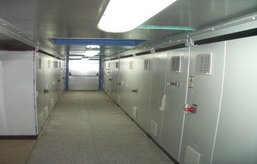 Control cabinets inside the